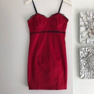 MYSTIC Red Satin Bustier Dress